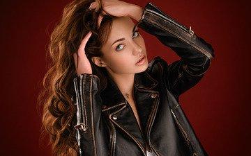 girl, background, pose, portrait, model, makeup, hairstyle, beauty, jacket, is, brown hair, in black, nika, kozhanka