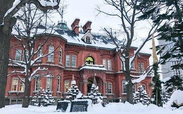 snow, winter, landscape, city, japan, the building, building, sapporo
