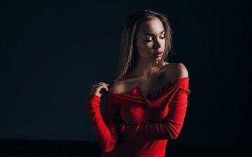 girl, background, pose, portrait, shoulders, face, makeup