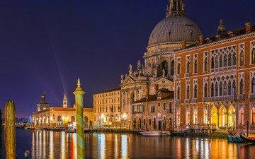 venice, channel, night city, promenade, italy, building, the grand canal, grand canal, santa maria della salute, the cathedral of santa maria della salute, basilica, dorsoduro
