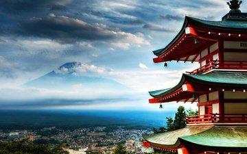 japan, panorama of the city, fuji, senso-ji temle, pagoda of senso-ji temple, fuji mountain