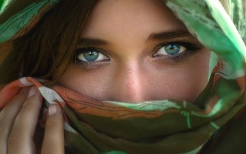 eyes, girl, look, face, freckles