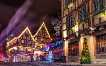 night, lights, france, christmas, colmar