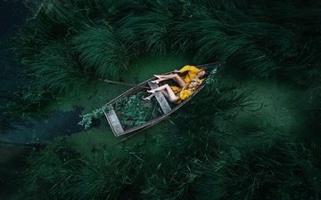 grass, pose, the situation, sleep, boat, two girls, in the boat, two. girl