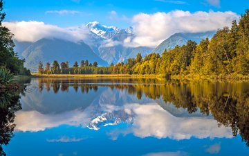 clouds, mountains, forest, new zealand, lake matheson