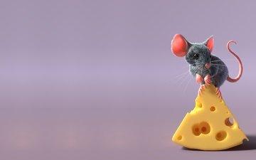 рендеринг, сыр, мышь, хвост, мышка, детская, freelancer, sergey pletnev, mouse and cheese