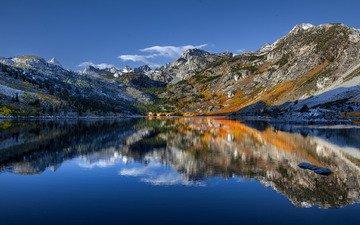 озеро, отражение, калифорния, сьерра-невада, калифорнийская, озеро сабрина