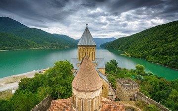 река, горы, замок, крепость, грузия, ananuri, река арагви, крепость ананури, aragvi river