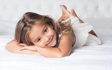 улыбка, белый, девочка, настроения