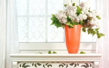 flowers, bouquet, window, vase, lilac