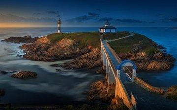 море, маяк, мост, остров, береговая линия, galicia, isla-pancha