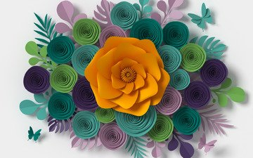 flowers, pattern, paper, rendering, composition, floral, colorful