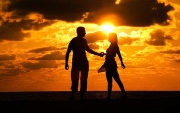 солнце, закат, девушка, парень, силуэт
