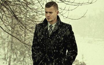 зима, грусть, парень, снегопад