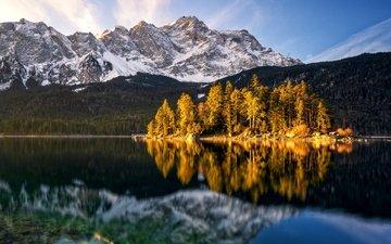 деревья, озеро, горы, отражение, остров, германия, альпы, бавария, баварии, айбзее, eibsee