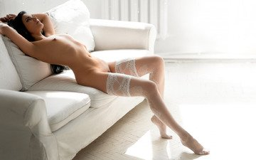 girl, pose, look, feet, chest, stockings, figure, sofa
