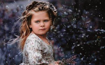 снег, настроение, взгляд, девочка, веточка