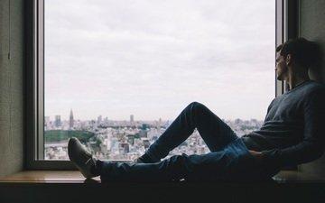 sadness, guy, window
