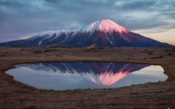озеро, пейзаж, камчатка, вулкан