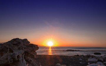 stones, shore, sunset, sea, horizon, dawn