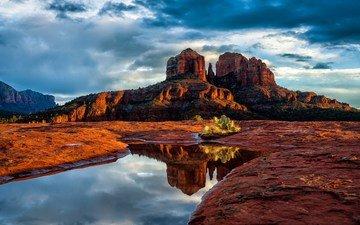 небо, облака, деревья, горы, скалы, природа, пустыня, кусты, штат аризона, седона