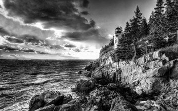 rocks, stones, forest, lighthouse, black and white, the ocean