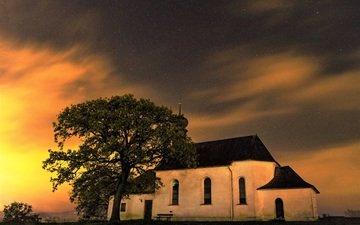 небо, облака, вечер, звезды, дом, церковь, часовня