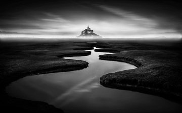 the sky, river, field, castle, black and white, pond, france, the monastery, normandy, mont-saint-michel