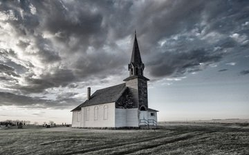 the sky, clouds, black and white, church, chapel