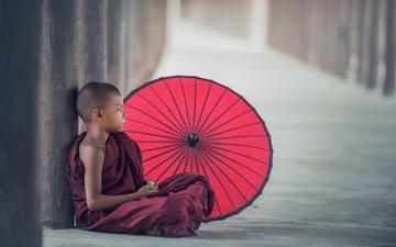 будда, ребенок, мальчик, зонтик, сидя, азиат, буддизм, монах
