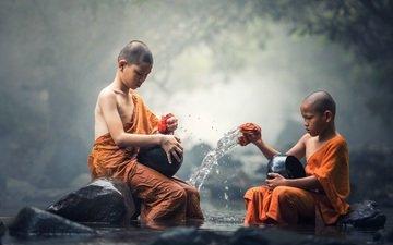 дети, будда, ребенок, сидя, мальчики, азиат, буддизм, монах