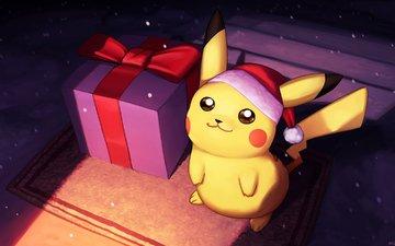 новый год, подарки, покемон, пикачу