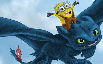 дракон, мультфильм, миньон, анимация, иллюстрация