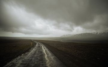 road, clouds, landscape, mountain, iceland