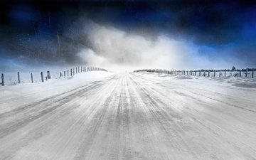 the sky, road, snow, nature, winter, cold