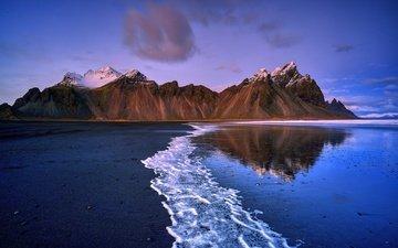 горы, природа, берег, море, пляж, побережье, исландия