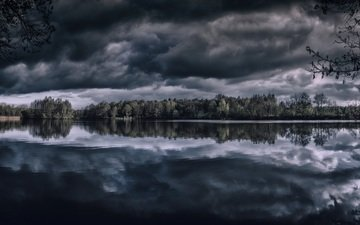 облака, деревья, озеро, отражение, горизонт