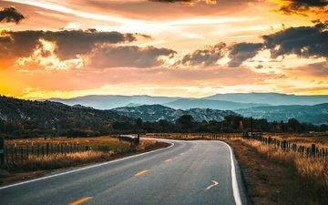 дорога, вечер, горы, природа, закат