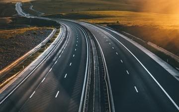 дорога, солнце, утро, шоссе