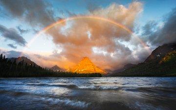 lake, nature, mountain, rainbow, glacier national park