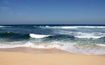 shore, wave, sea, sand, beach, horizon