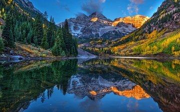 озеро, горы, скалы, холмы, берег, лес, отражение, осень, вершины, склоны, сша, ели, синева, колорадо