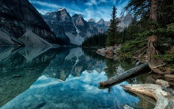 lake, mountains, tree, forest, reflection, landscape, canada, moraine lake