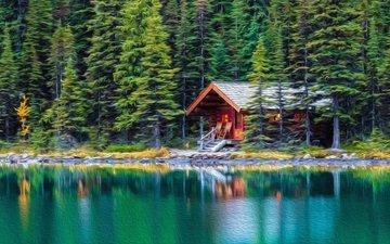 деревья, озеро, лес, отражение, дом, хижина