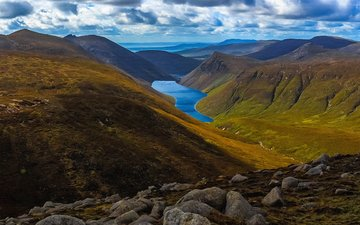 lake, landscape, mountain, hill, valley, scotland, rock, mountain range, isle of skye