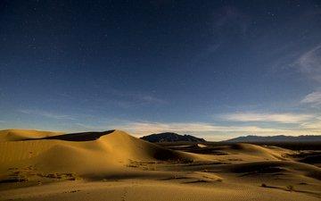 sand, desert, starry sky, dunes
