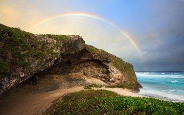 the sky, clouds, nature, shore, sea, rock, beach, horizon, rainbow, bay, cave, coastline
