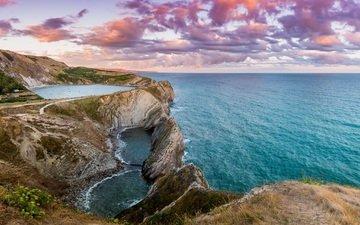 the evening, rocks, sunset, sea, coast, seascape