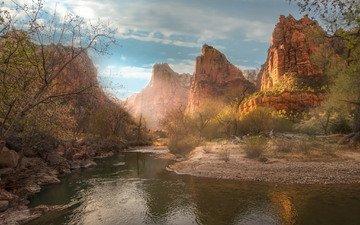 озеро, горы, скалы, природа, рассвет