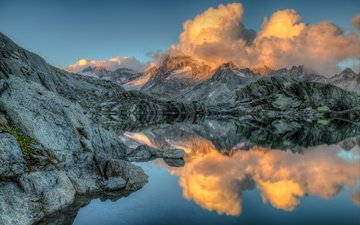 the sky, clouds, lake, mountains, nature, reflection